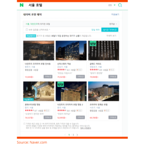 Naver - Hotels in Seoul - search results view - top of page LocAtHeart translation agency