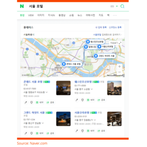 Naver - Recommended location on a map - map view in Naver search results - LocAtHeart translation agency